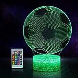 XINGHE Lampada Calcio 3D con Controllo Remoto, 16 Colori Controllo Tattile Lampada Decorazione Da Comodino Con Cavo Usb per Regalo di Compleanno e Natale