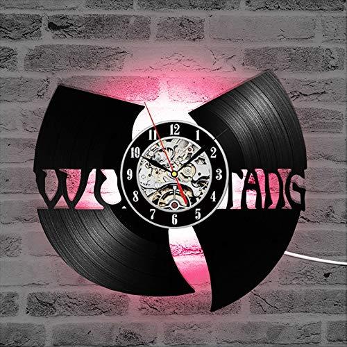 BFMBCHDJ Schallplatte Wudang Clan Hip-Hop modernes Design Wanduhr Hot Band CD Schallplatte LED Uhr 7 Farbwechsel Wanduhr Geschenk für Fans