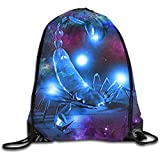 Yuanmeiju Lightweight Bolsa de cordón para Dibujar,Gym Drawstring Backpack,Travel Sackpack,Shopping Shoulder Bag,Scorpion Galaxy String Storage Bag,Yoga Rucksack,Sport Cinch Pack