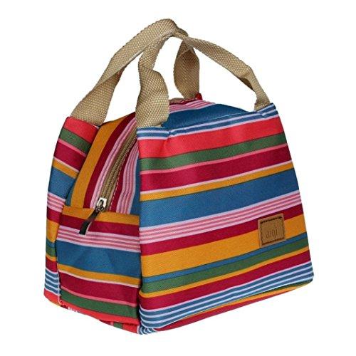Bolsa térmica Koly con diseño a rayas, cremallera y pendiente, colorido, 21*14*16cm/8.3*5.5*6.3inch