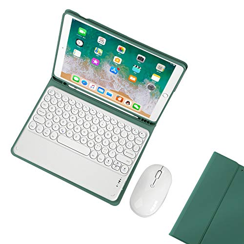 Ipad Keyboard Case 5Th 6Th Generation for Ipad 9.7 2017/2018, Magnetically Detachable Wireless Keyboard with Pencil Holder, Full Folio Cover for Ipad 9.7 Inch,Deepgreen2 with Mouse