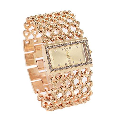XuBa Dames Quartz Diamond Case Legering Armband Vierkant Horloge met Super Dunne Holle Band Goud