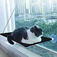 Daskuchi 猫 ハンモック吸盤 猫のハンモック シート ハンモックハンギング ぶら下がっているペットの窓枠のレストシート 猫 はんもっく ケージ 猫 用品 耐荷重約10kg (ブラック)