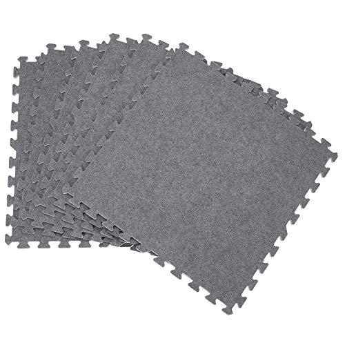 Deuba Puzzlematte 6er Set Bodenschutzmatte Teppich Look Grau 2,16m² Bodenmatte 1cm dicke Schaumstoff Matte Unterlegmatte