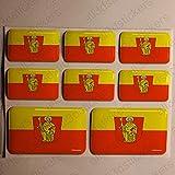 All3DStickers Aufkleber Trier Deutschland Flagge 8 x Flaggen von Trier Deutschland Rechteckig 3D Kfz-Aufkleber Gedomt Fahne