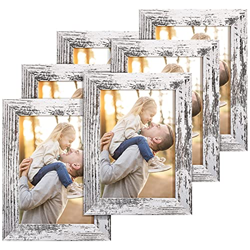 TWING Rustic 5 x 7 Picture Frames Distressed White Wood Pattern High Definition Plexiglass Photos Frame for Table Top and Wall Display 6 Pack