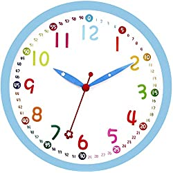 Lumuasky Kids Wall Clock, Silent Non Ticking - 12 Inch Decorative Colorful Battery Operated Round Easy to Read Clock for Classroom, School, Playroom, Nursery Room, Home (Blue)