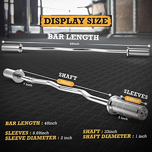 Olympic Barbell Super Curl Bar 48 inch Weight Bar, Men's Solid Iron Weighted Workout Barbell Weight Straight Weightlifting Technique Bar for Home Fitness Exercise Equipment, Rated 500lbs for Weightlifting