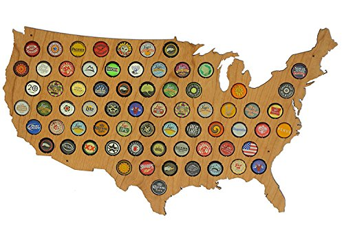 USA Beer Cap Map Cherry - Glossy Wood Bottle Cap Holder -...