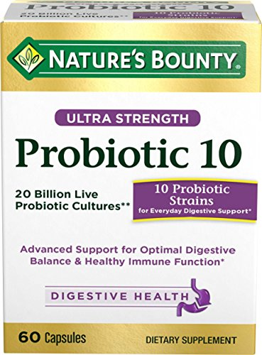 Probiotics by Nature's Bounty, Ultra Strength Probiotic 10, Immune Health & Digestive Balance, 60 Capsules