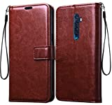 Jkobi Vintage Flip Case Cover for Oppo Reno2 / Oppo Reno 2 Leather | Inner TPU | Foldable Stand | Wallet Card Slots -Brown