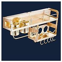 KEKEYANG 台所収納 (:ゴールド、サイズ:60 * 27センチメートルカラー)(色:ゴールド、サイズ:60 * 27センチメートル)スペースアルミ棚lixinキッチン棚 収納