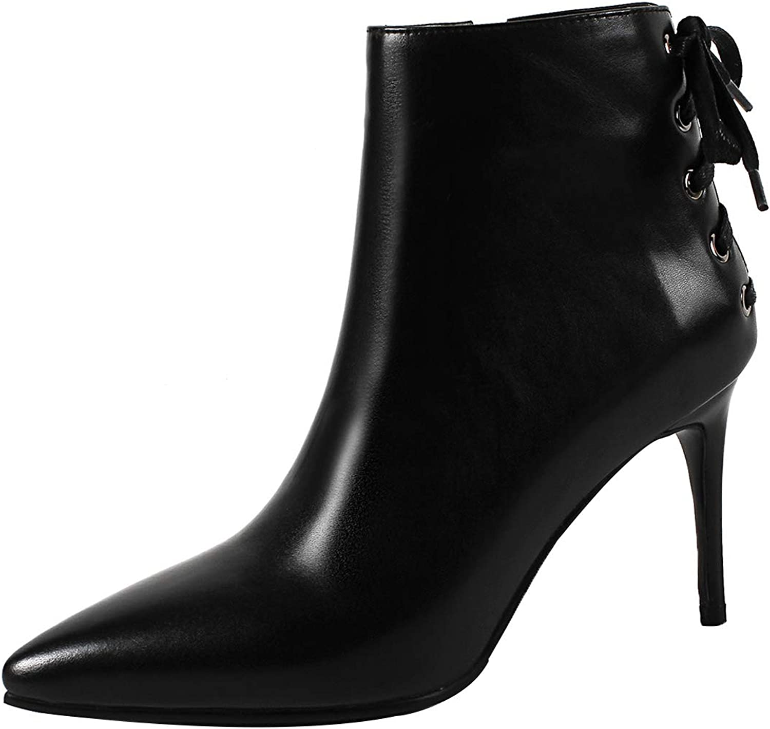 Eithy Women's Shaddr Stiletto Ankle-high Zipper Leather Boots