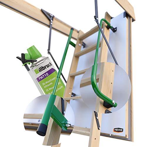 Pro-Passiv HEYKE W1 Bodentreppe mit Zwei Handläufe + Isolierschaum + 3 Dichtungen | U-Wert 0,36 W/M2*K | Luftdichtheitsklasse 4 | Assistenz-Federmechanismus | Möbelqualität | Spart Energiekosten