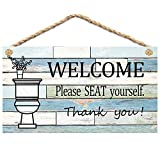 Calien Funny Bathroom Signs Please Seat Yourself Welcome Sign 13.5' x 7.5' Hanging Wall Art Sign Home Bathroom Decor