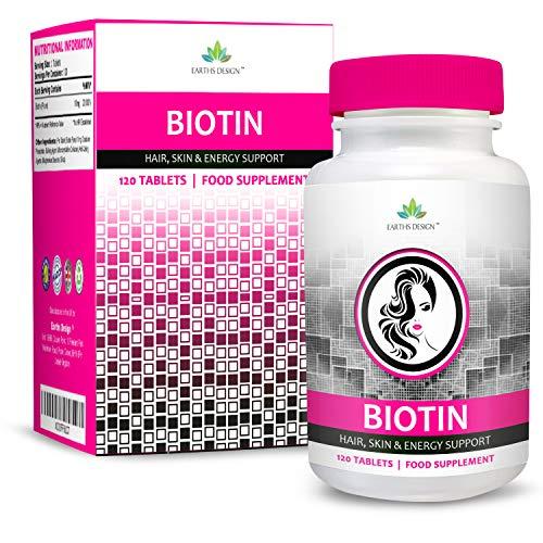 Biotina 10000mcg Doble Concentración - Vitamina B7 - Para Cabello y Piel - Para Hombres y Mujeres - Apto Vegetarianos - 120 Pastillas (Suministro Para 4 Meses) de Earths Design