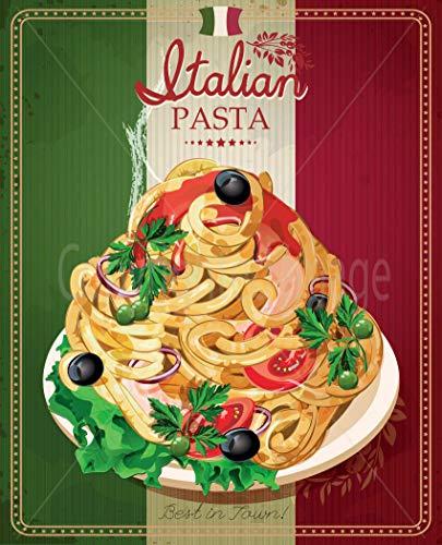ZMKDLL Italian Pasta Best in Town Metal Tin Sign Poster Vintage Style Bar Pub 12'x8'