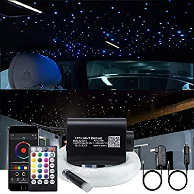 16W Fiber Optic Lights Star Ceiling Light Kit for Car & Home, Musical Remote Control with Fibre Optical Cable Strands 150pcs 0.75mm 6.5ft/2m+28key