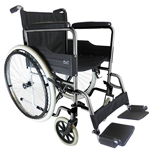 D PRO T extra padded seat Folding Self Propelled Wheelchair Removable Footrests Puncture Proof With Armrest And Portable (Grey)
