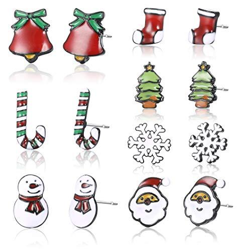 Sllaiss Juego de 7 pares de pendientes de acero inoxidable con muñeco de nieve y bastón de caramelo, cascabel para mujer, copo de nieve, Papá Noel, calcetín de Navidad, regalo de joyería de Navidad