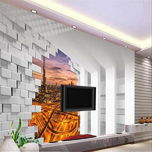 Aangepast behang 3D Stereo Ruimte Dubai Nachtzicht Tv Achtergrond Woonkamer Slaapkamer Muurpapier Decoratie 150 x 105 cm.