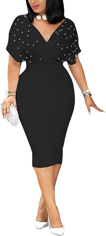 Women Pearls Deep V Neck Short Sleeve One Piece Dress Midi Pencil Dress