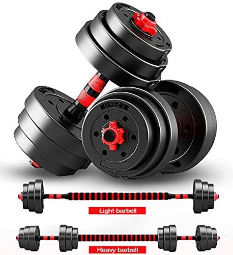 AJUMKER Kurzhantel-Langhantelset mit Verbindungsstange 50KG, verstellbares Hebetraining für Männer und Frauen, Kurzhantel-Langhantelset, Workout-Langhantelset für das Körperkrafttraining