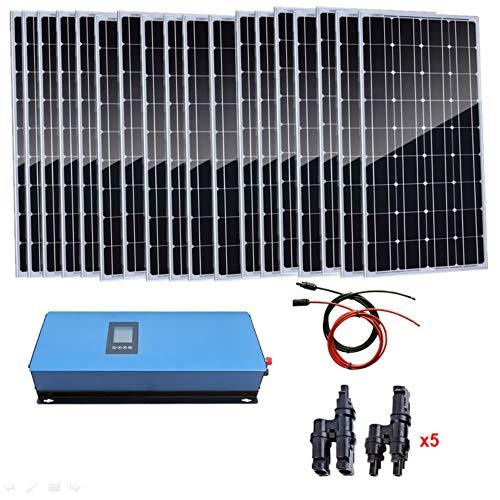 AUECOOR 1800 W Home Grid Tie Solar Kit 18 Piezas 100 W Monocristalino Panel Solar & 2000 W Power Inverter Charging AC 230 V