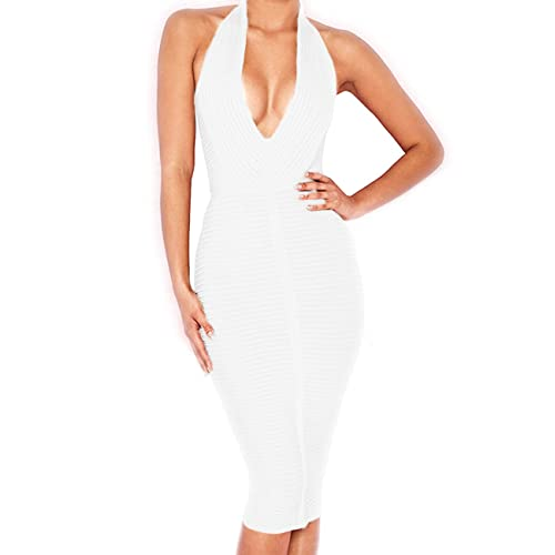 af722a65864 Whoinshop Women  s Sexy Halter Deep V Neck Club Party Bandage Dress
