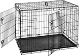AmazonBasics Double-Door Folding Metal Dog or Pet Crate Kennel with Tray, 42 x 28 x 30 Inches