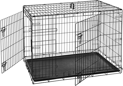 AmazonBasics Double-Door Folding Metal Dog...