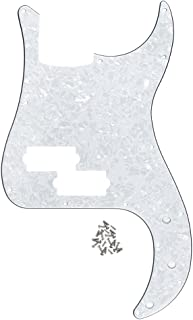FLEOR P Bass Pickguard Guitar Scratch Plate Pick Guard w/Screws for 4 String American/Mexican Standard Precision Bass Style, 4Ply White Pearl