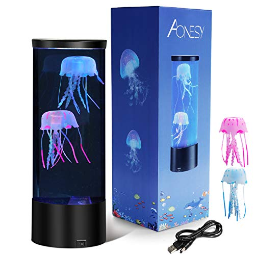 Electric Jellyfish Tank Table Lamp with 2 Fake Glowing Jelly Fish LED Lava Lamps with Color Changing Mood Lights Kids Night Light Christmas Gift for Boys Girls Men Women