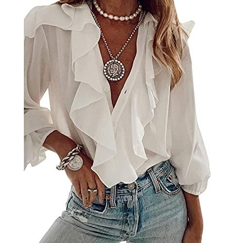 Camisa de Mujer con Manga Larga Blusa Elegante de Escote en V con Volantes para Oficina Camisa Recta Informal de Otoño Primavera Verano (Blanco, M)