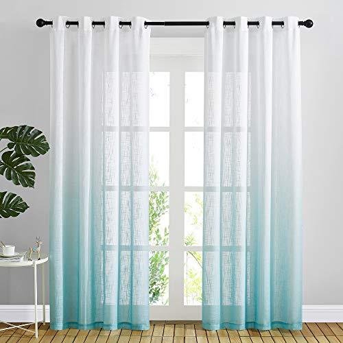 "NICETOWN Linen Sheer Curtains 84 inches Long for Kids Room, Grommet Ombre Sheer Linen Curtains Floor-Length Drape Privacy for Living Room/Sliding Door,50"" Wide Per Panel, Sky Blue, Set of 2"