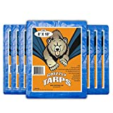 B-Air Grizzly Tarps - Large Multi-Purpose, Waterproof, Tarp Poly Cover - 5 Mil Thick (Blue - 8 x 10 Feet), 4 Pack