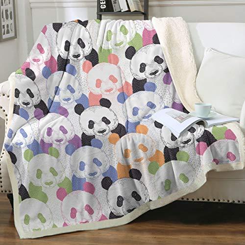 Sleepwish Kawaii Panda Fleece Blanket Adults Women Sherpa Blanket Soft Warm Colorful Pop Art Fuzzy Throw Blanket Panda Bear Cozy Fluffy Warm Blankets Twin Size (60