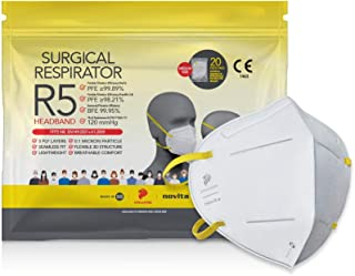 novita Surgical Respirator R5 Headband | FDA EUA Listed, FFP2, CE Certified | Made in Singapore | M Size | 20 Pieces in a ...