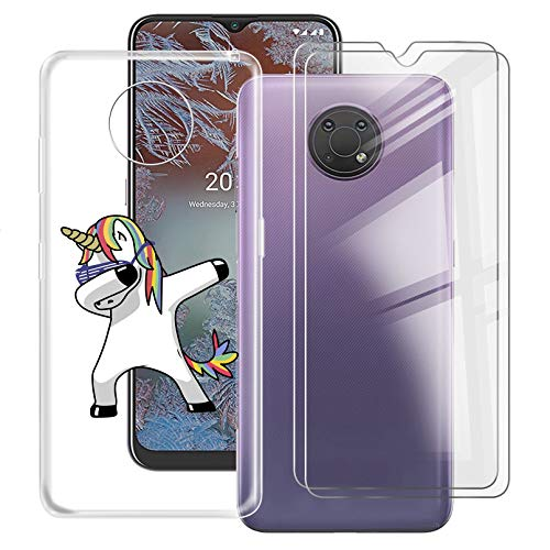 ZXLZKQ Fundas + 2 Piezas Protector Cristal Templado para Nokia G10 (6.52 Pulgadas), Transparente Case Silicona Suave Caso TPU Carcasa,Vidrio Película Protectora - WM125