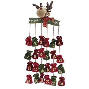 Adventskalender Rentier Elch zum Befüllen Textil 74 cm Textil rot grün Weihnachten Kalender Advent