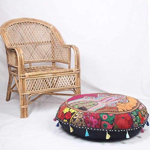 Jaipurtextilehub JTH Puf otomano indio otomano redondo puf puf puf taburete étnico vintage puf (tamaño: 32 x 9 x 32 pulgadas)