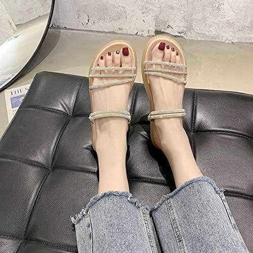 ypyrhh Chanclas de casa suave para interiores, pequeñas sandalias frescas de desgaste, ropa de perforación de agua plana-creamy-white_38, zapatillas de ducha para mujer