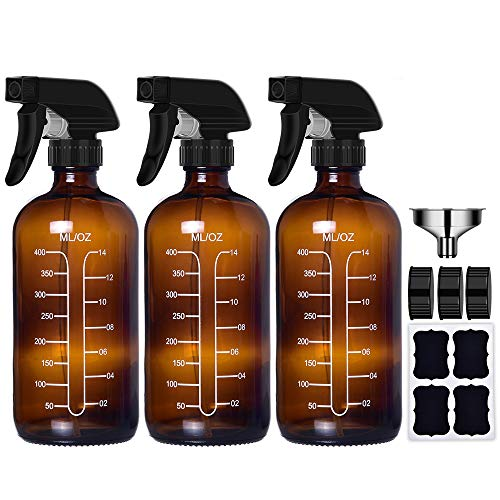 Amber Glass Spray Bottles with Measurements, 16oz Fine Mist Empty Spray Bottles Container for Cleaning Solutions (3 Pack)