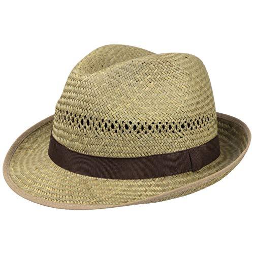 Lipodo Strohhut für Damen und Herren - Trilby aus 100% Stroh - Perfekter Strohtrilby für den Sommer - Schöner Sonnenhut, Trilbyhut Natur M (56-57 cm)