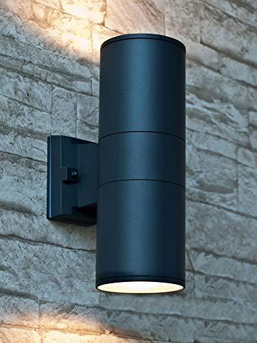 Wandleuchte XL aussen in anthrazit 1x E27 bis 60W 230V moderne Lampe aus Aluminium Glas Wandleuchte Up Down Terrasse Hauswandleuchte Beleuchtung Carport