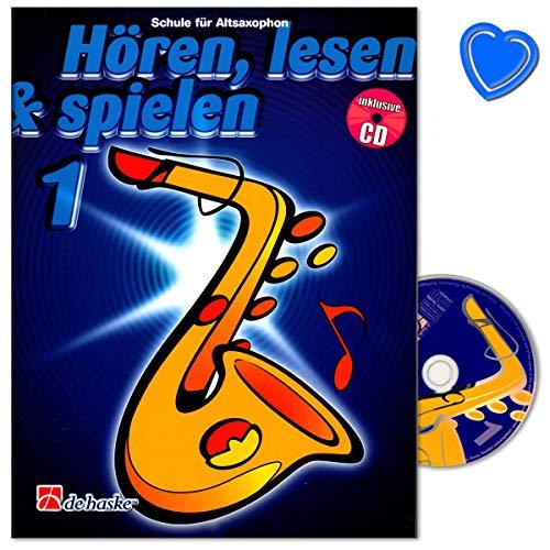 Hören, Lesen and Spielen Band 1 für Altsaxophon - individuelle Bläserschule von Jaap Kastelein für Einzel- oder Gruppenunterrich - Lehrbuch mit CD und bunter herzförmiger Notenklammer