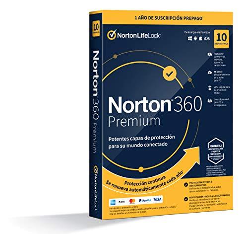 Norton 360 Premium 2021 - Antivirus software para 10 Dispositivos y 1 año de suscripción con renovación automática,...