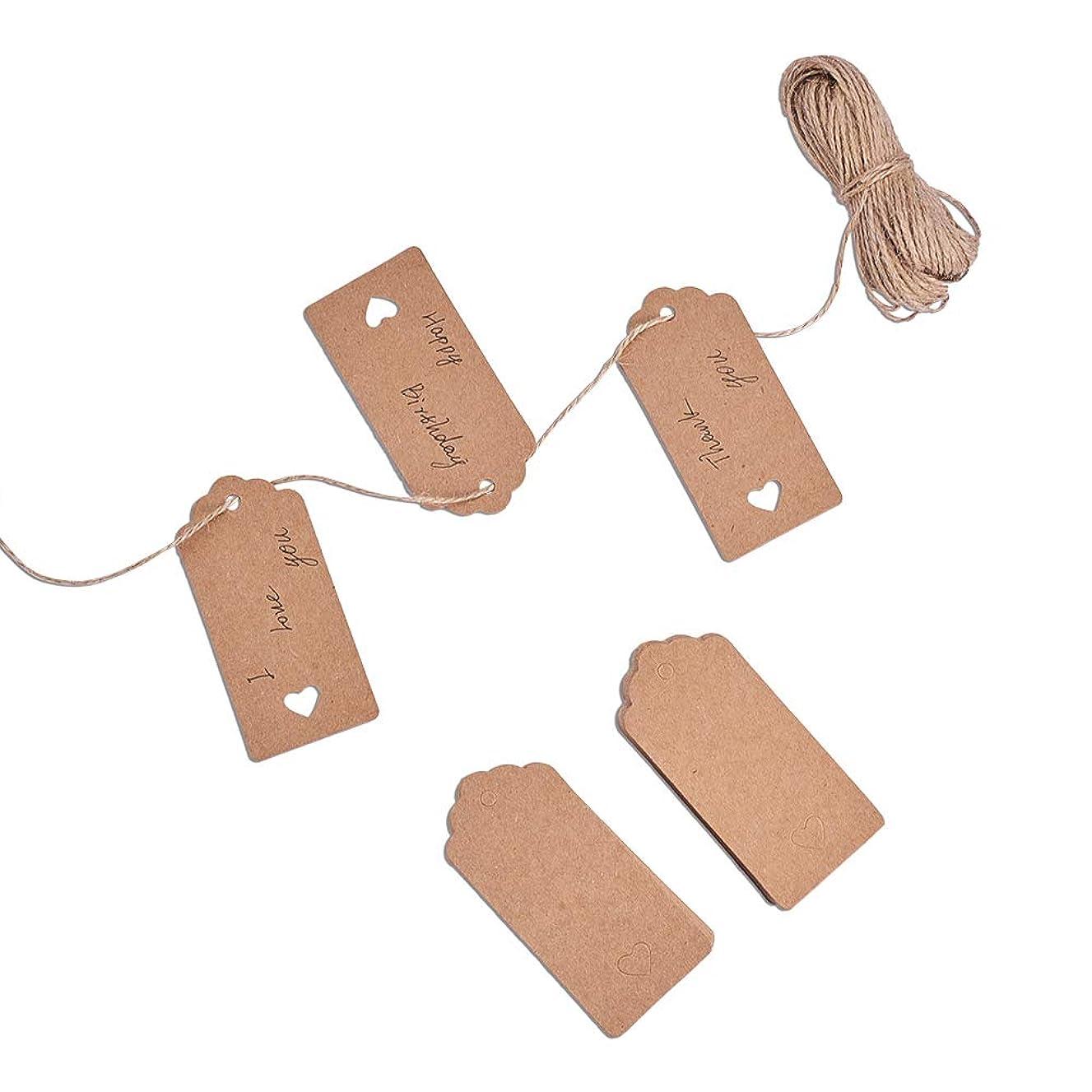 PH PandaHall 100PCS Brown Kraft Gift Tags Blank Paper Hang Tags Price Tags 65 Feet String Wedding Christmas Day Thanksgiving DIY Craft(95x45mm)