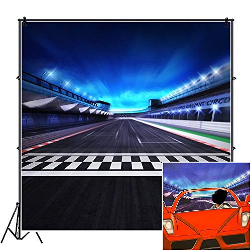 CSFOTO 8x8ft Racing Backdrop View of Infinity Asphalt International Race Track with Start and Finish Line Photography Backdrop Night Scene 3D Racing Competition Photo Wallpaper