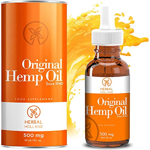 Hemp Oil Drops For Pain & Anxiety Relief By Herbal Holland - 100% Natural, High Strength Edible Hemp Oil for Sleep, Stress, Energy, Focus, Skin, Joint Support - 3rd Party Tested, Vegan Hemp Oil (30ml)